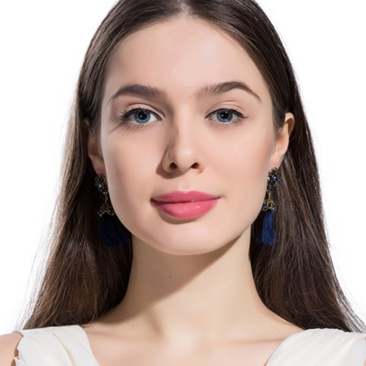 Retro Long Alloy Diamante Blue Tassels Earrings