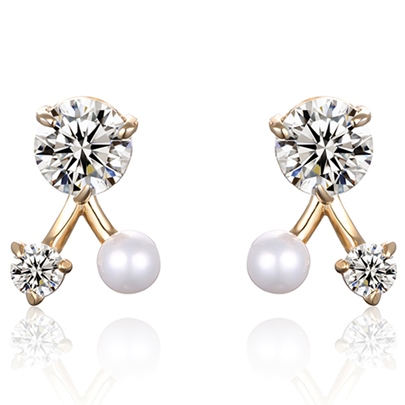 Fine Alloy E-Plating Zircon Inlaid Stud Earrings