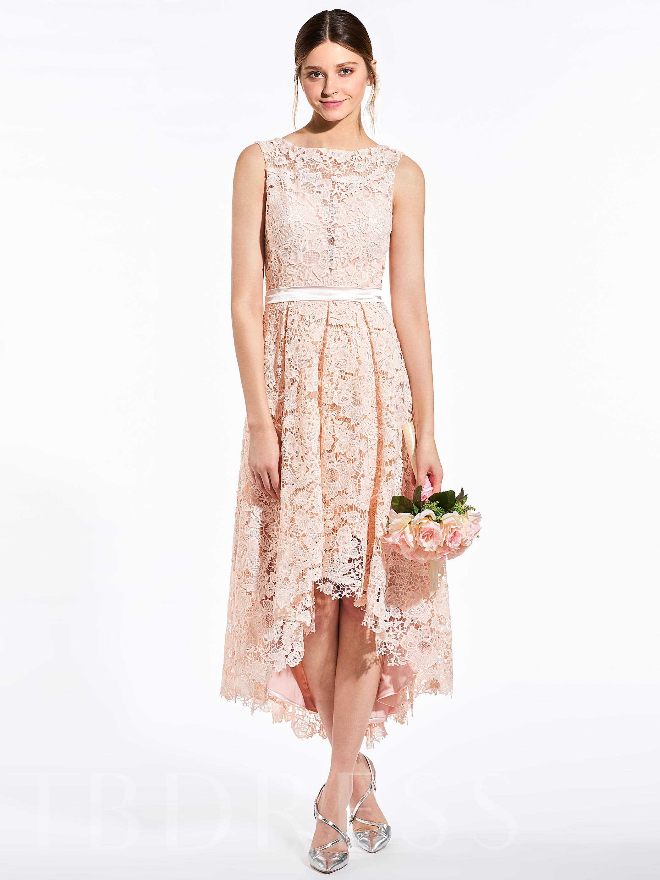 Image of Lace Button High-Low Bridesmaid Dress