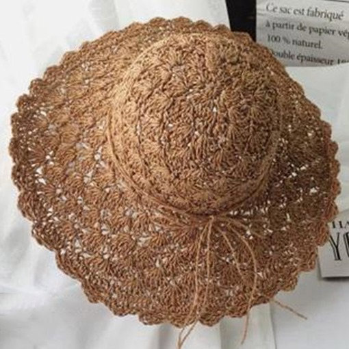 Bowknot Decorated Dome Crown Coffee Straw Sun Hat