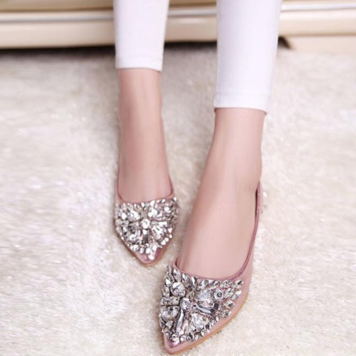 Block Heel Slip-On Pointed Toe Rhinestone Banquet Flats