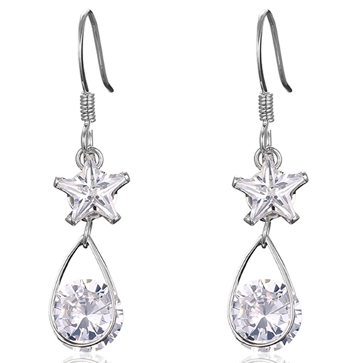 Stars and Water Drop Design Zircon Earrings