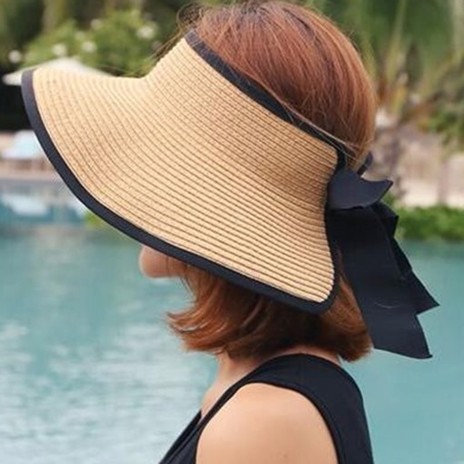 Outdoor Casual Visor Crown Solid Color Straw Hat