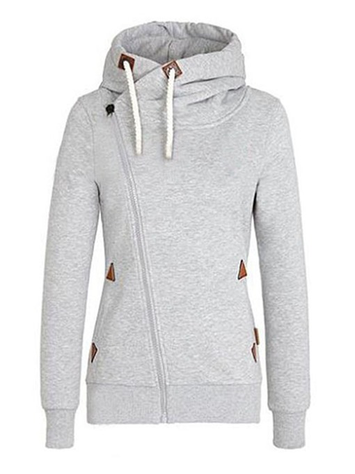 Casual Light Gray Hooded Women's Hoodie