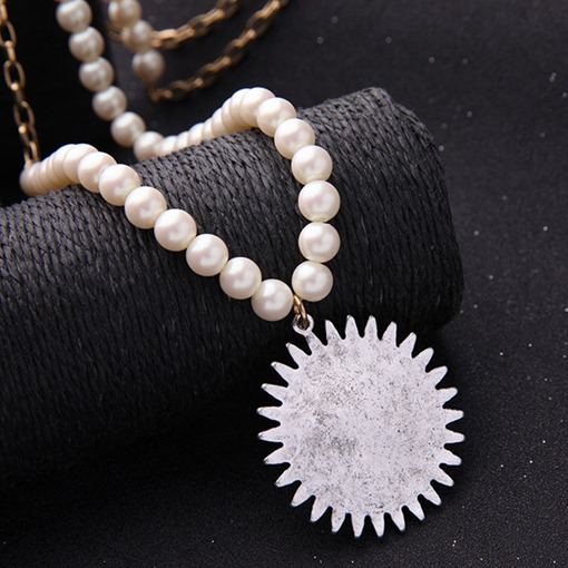 Sun Flower Diamante Pendant Long Pearl Necklace