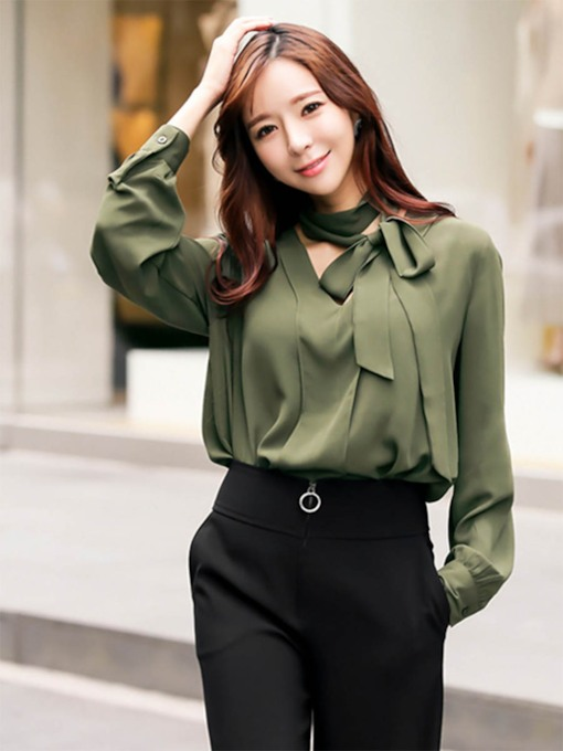 Self Tie Neck Lantern Sleeves Women's Blouse