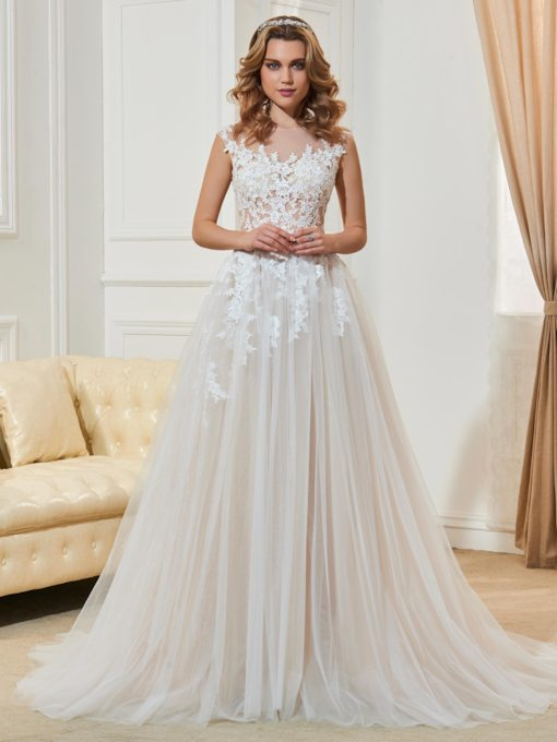 Scoop Neck Lace Appliques Button Wedding Dress