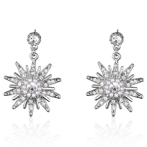 Shining Rhinestone Flowers Alloy Women's Earrings