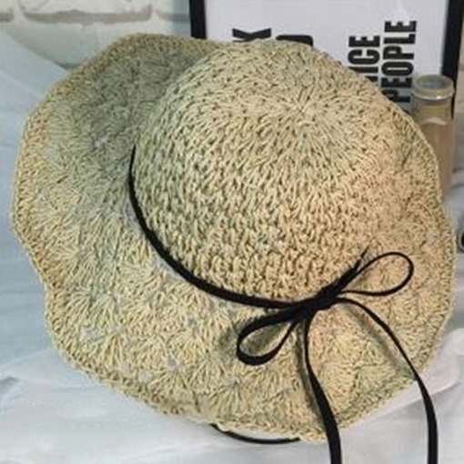 Bowknot Decorated Foldable Beach Hollow Straw Hat 61bcf052f406