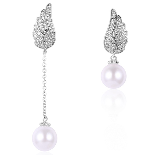 Angel's Wings Design Asymmetric Pearl Earrings