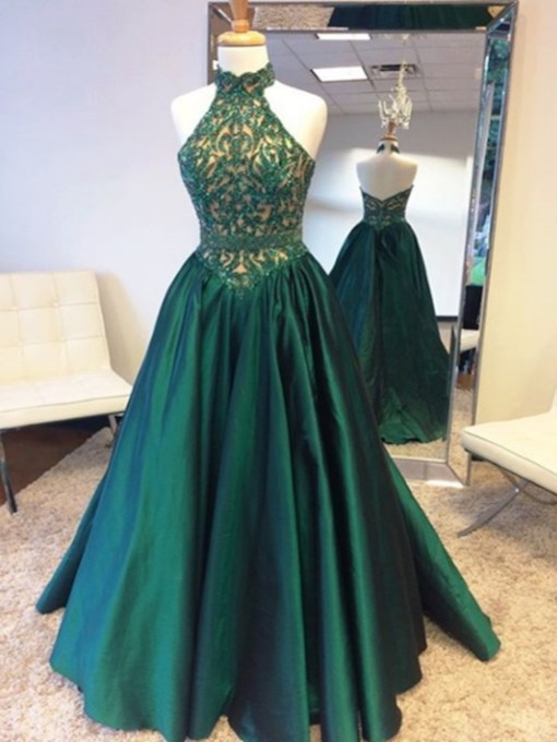 Halter A-Line Beaded Lace Floor-Length Prom Dress