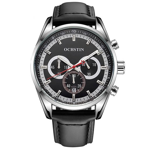 Three Eyes Six Pointers Design Round Men's Alloy Watch