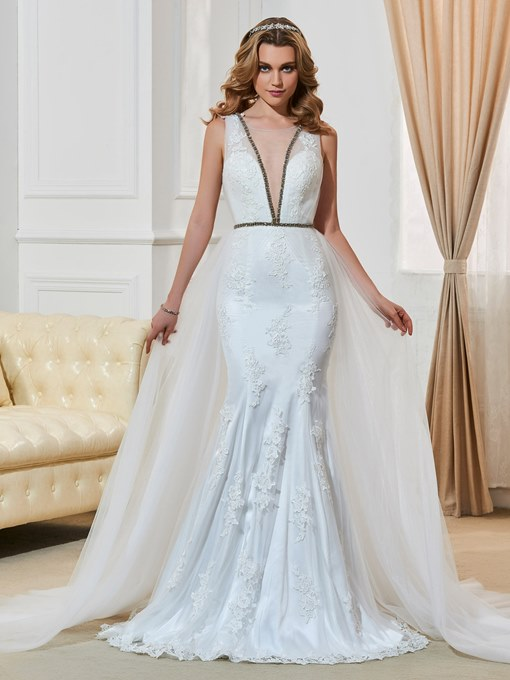 Gauze Scoop Neck Lace Watteau Train Sheath Wedding Dress