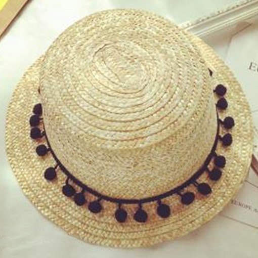 Cute Balls Decorated All-Matched Straw Hat