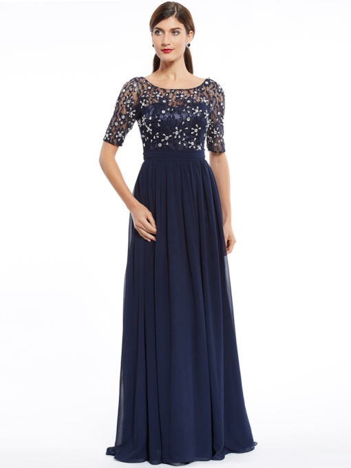 WomenSpecial Occasion DressesEvening Dresses. Scoop Half Sleeves Beaded A  Line Evening Dress 3227457b96f9