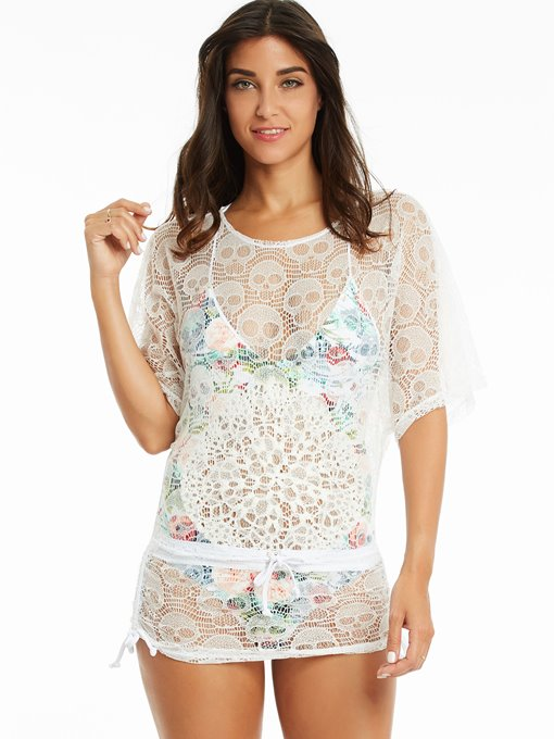Beatiful Hollow Lace Skull Pattern Beach Simple Cover-Ups