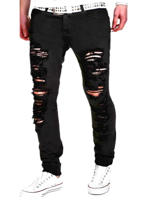 Solid Color Zipper Men's Causal Worn Jeans