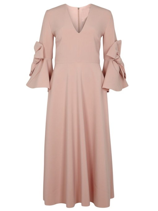 Plain V-Neck Bowknot Flare Sleeve Women's Maxi Dress