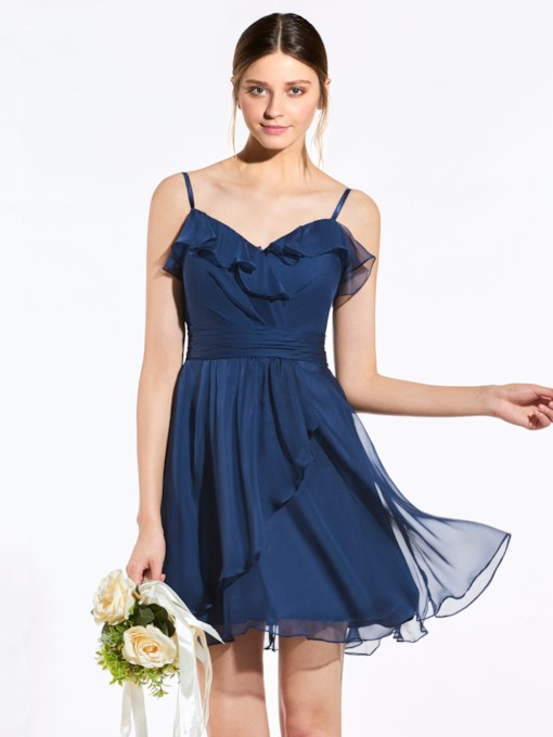 Spaghetti Straps Ruched Zipper-Up A-Line Short Bridesmaid Dress