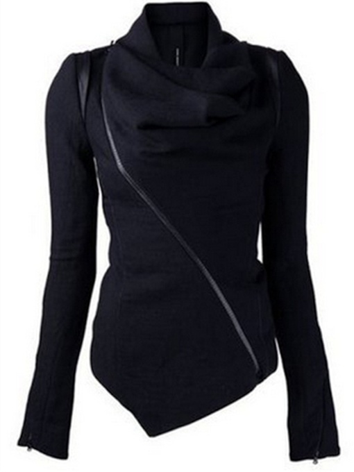 Heap Collar Epaulet Wrapped Asymmetric Women's Jacket