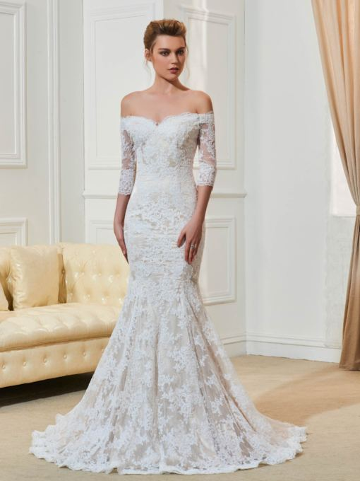 Off The Shoulder Half Sleeve Lace Mermaid Wedding Dress
