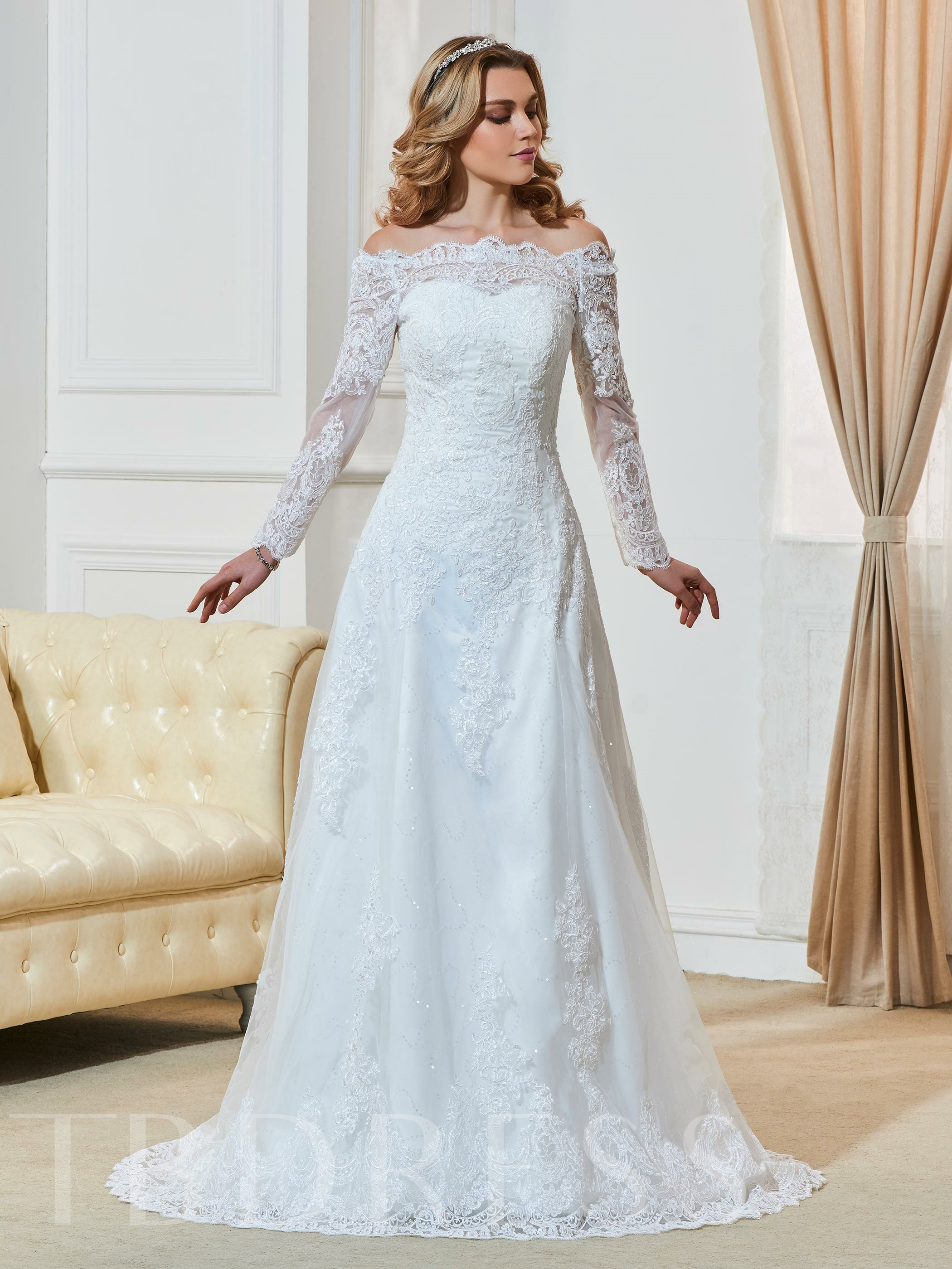 Long Sleeve Appliques A-Line Wedding Dres 12755266
