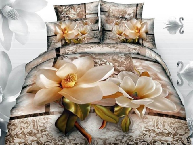 Floral 4-Piece 3D Bedding Sets/Duvet Covers