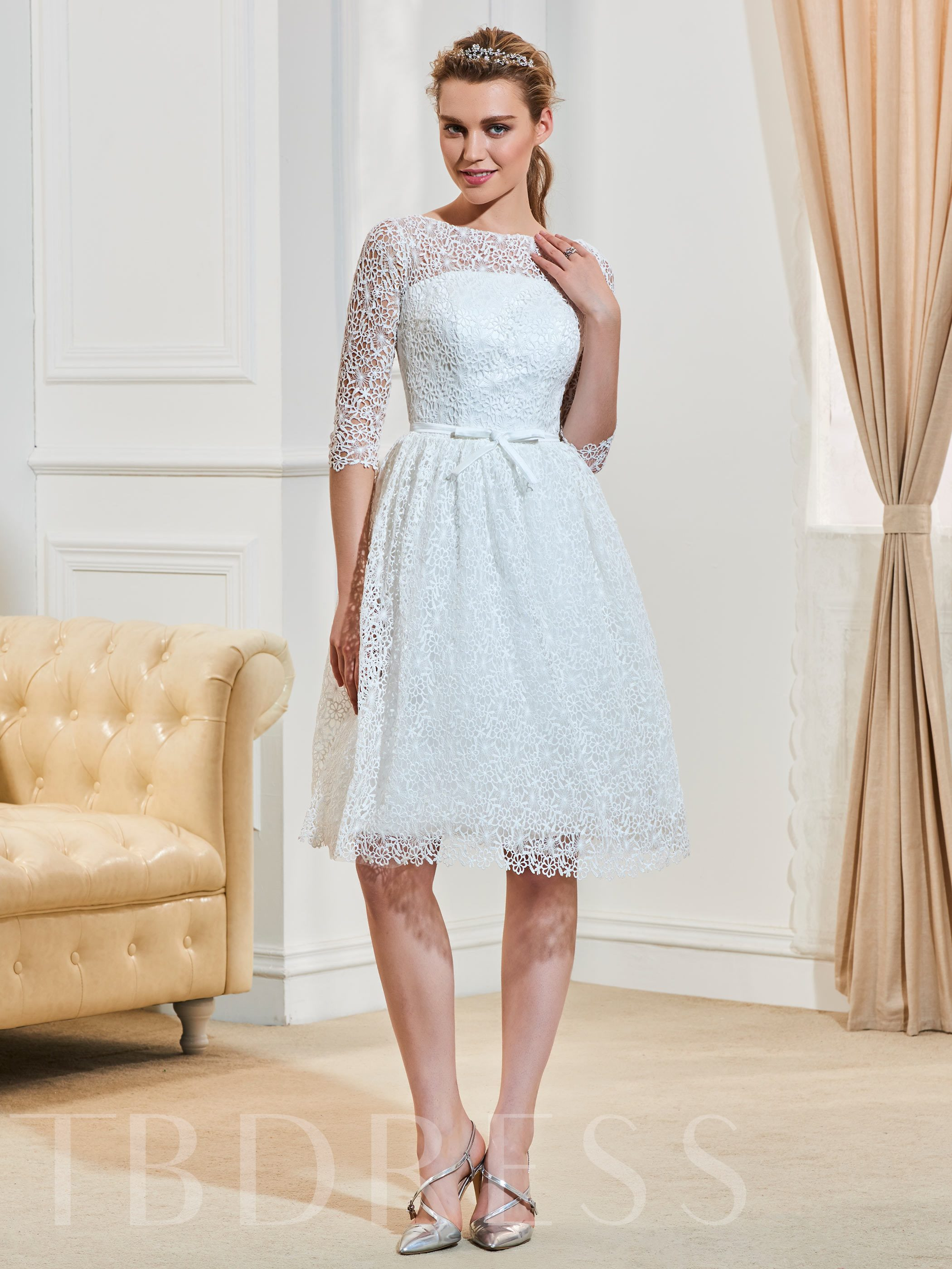 Image of Bateau Neck Lace Knee-Length Wedding Dress With Half Sleeves