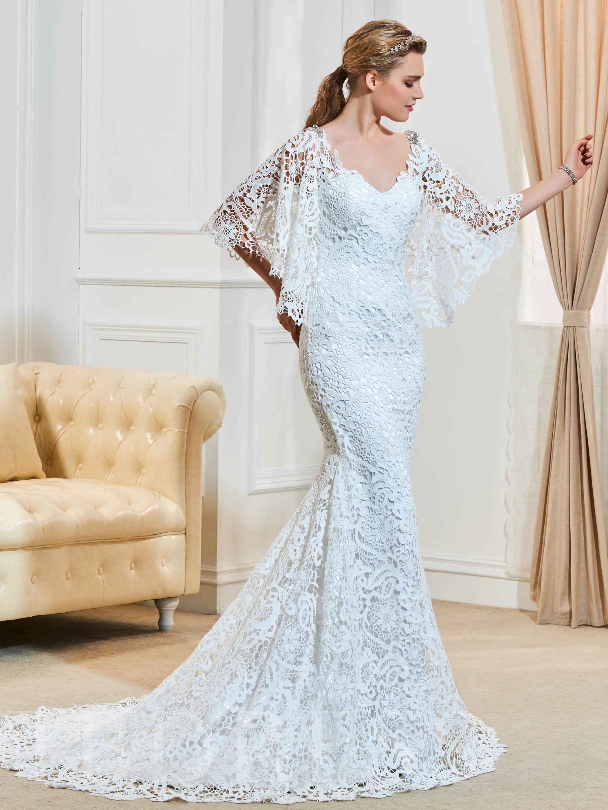 Beading Half Sleeve Mermaid Lace Wedding Dress 12753573