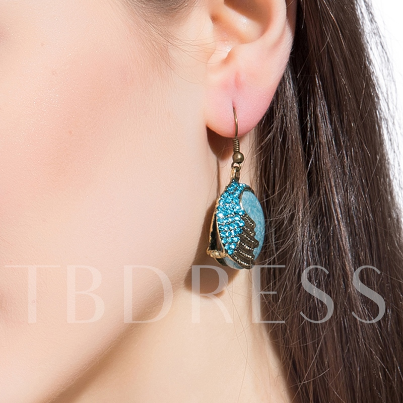 Delicate Blue Round Glass Pendant Earrings