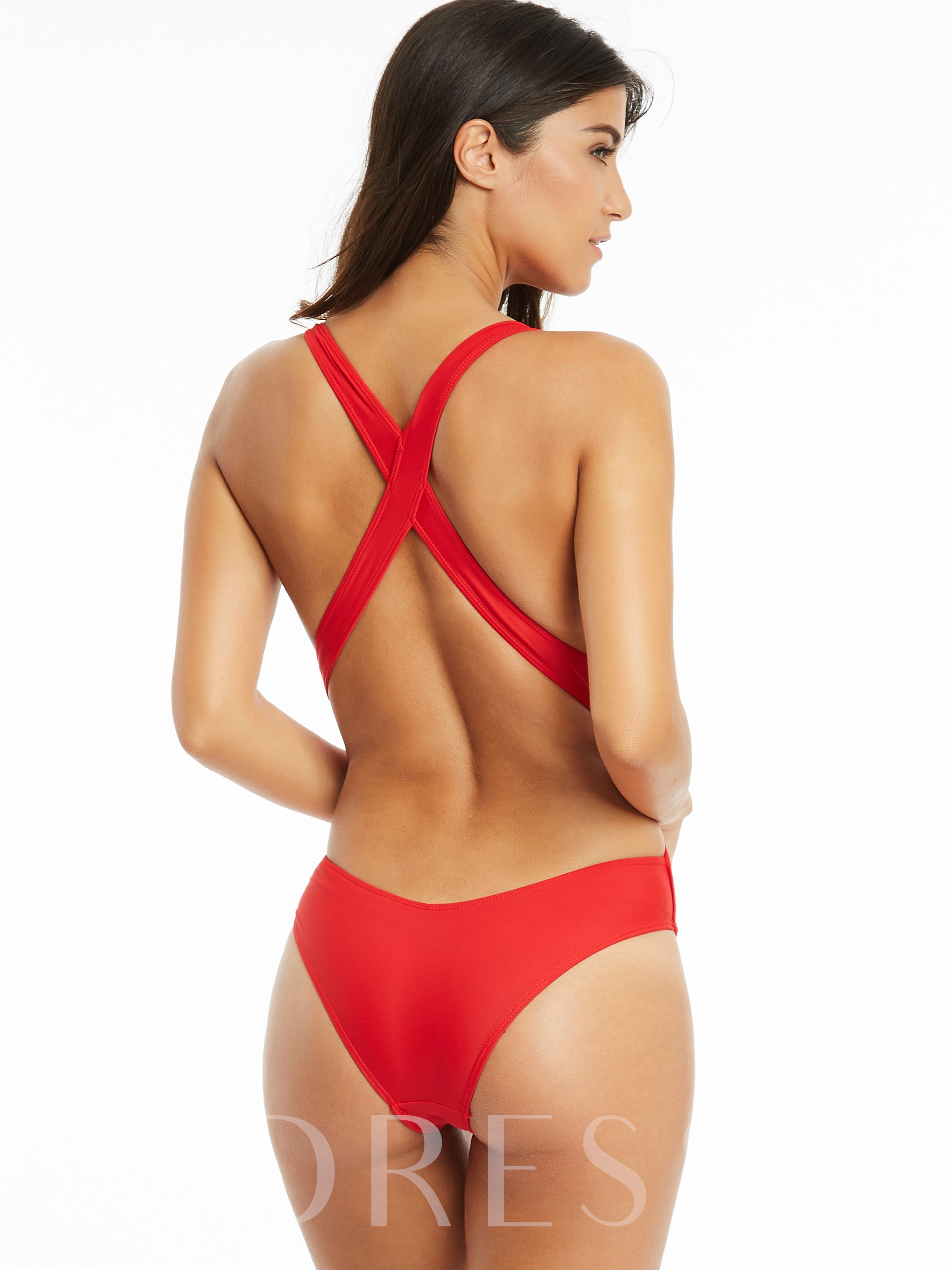 Fashionable Cross Strap One-Piece Swimsuit