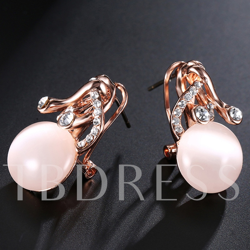 Rose Gold Diamante Oval Opal Stud Earrings