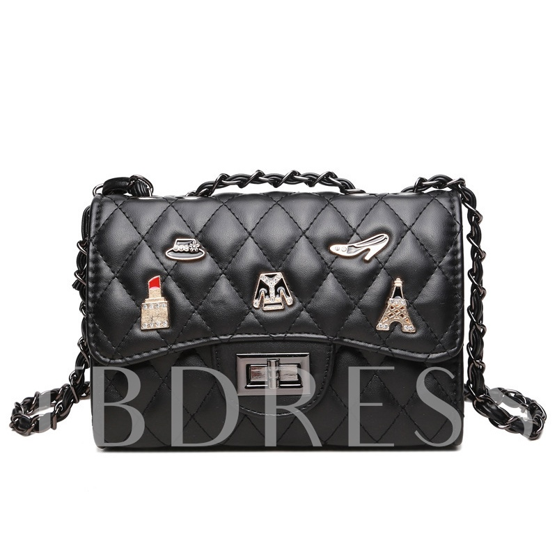 Retro Badge Ling Plaid Chain Cross Body Bag