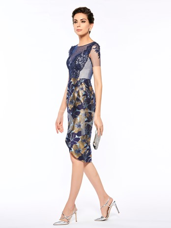 Scoop Neck Appliques Short Sleeves Mother of The Bride Dress