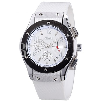 Silicone Band Folding Buckle Casual Men's Watch