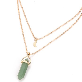 Double Layers Moon & Stone Bullet Pendant Necklace