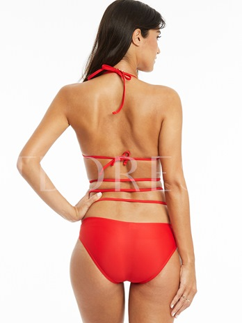 Sexy Hollow Lace-Up Red One-Piece Swimwear