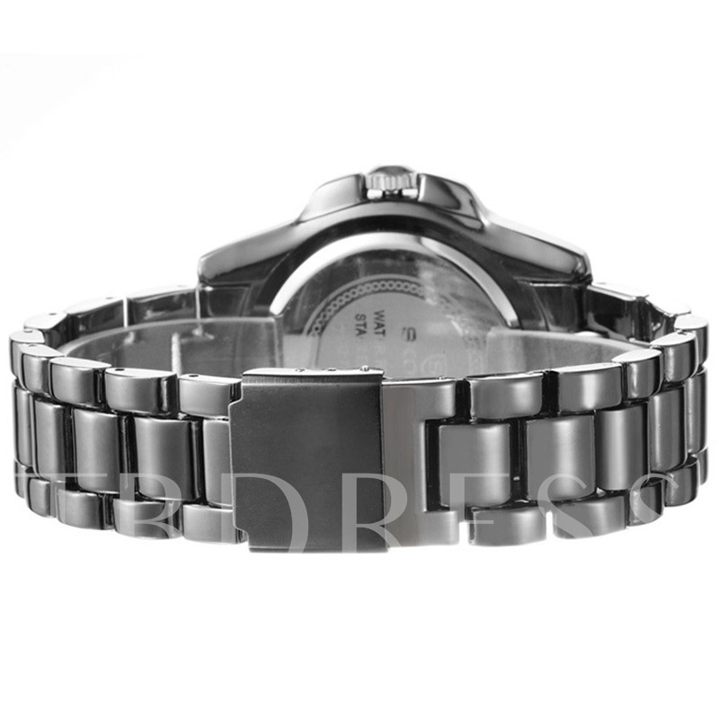 Luminous Pointer Alloy Diamante Dial Ceramic Band Men's Watch