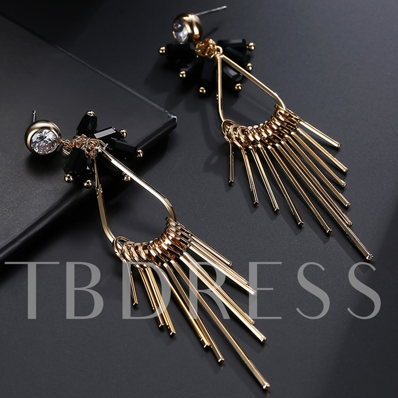 Golden Long Diamante Women's Tassels Earrings