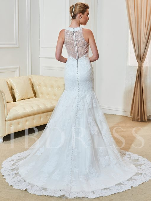 Jewel Neck Lace Beading Appliques Mermaid Wedding Dress