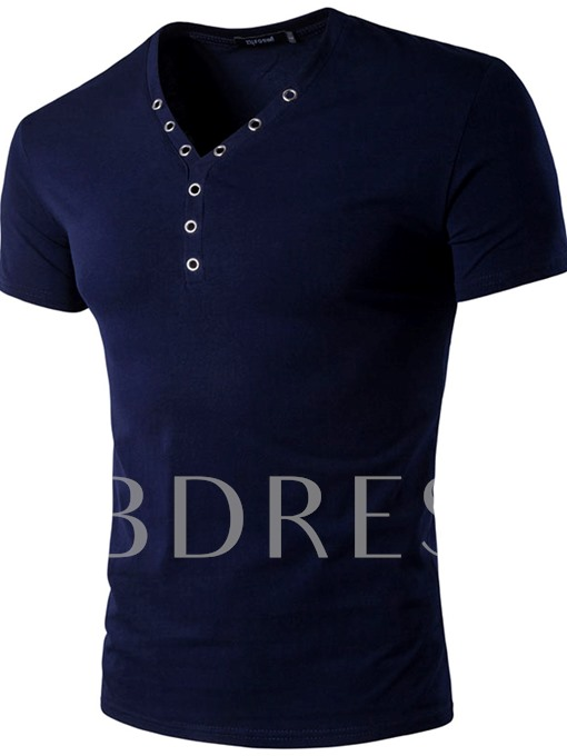 Men's Plain Causal Short Sleeve T-Shirt with Heart-Shaped Neck