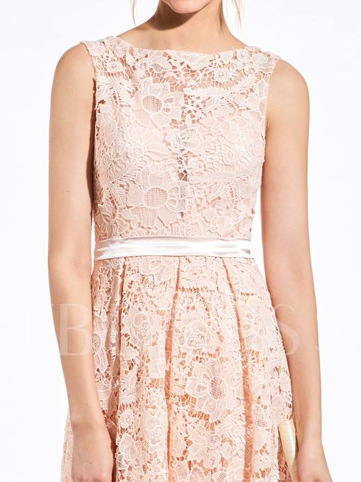 Lace Button High-Low Bridesmaid Dress