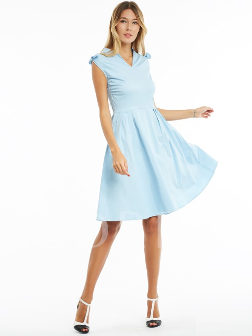 Light Blue Ruffled Women's Vintage Dress