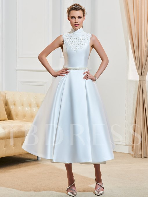 High Neck Pearls Zipper-Up A-Line Tea-Length Wedding Dress