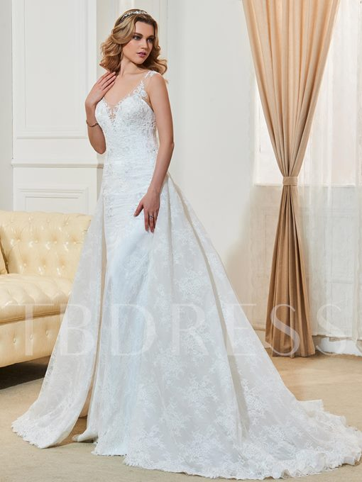 Scoop Neck Lace Button Court Train Wedding Dres
