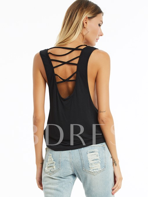 Back X-Strappy Sleeveless Women's Tank Top
