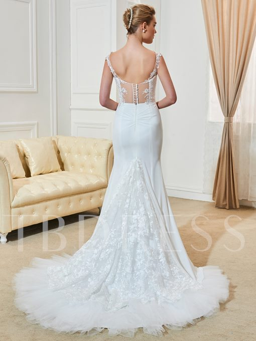 Straps Appliques Mermaid Wedding Dress