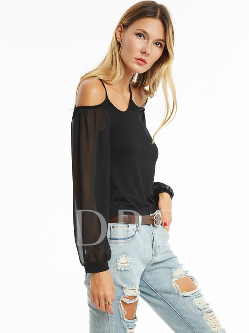 Slim Lantern Sleeves Plain Women's Blouse