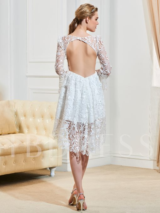 Bateau Neck Open Back Lace Long Sleeves Short Wedding Dress