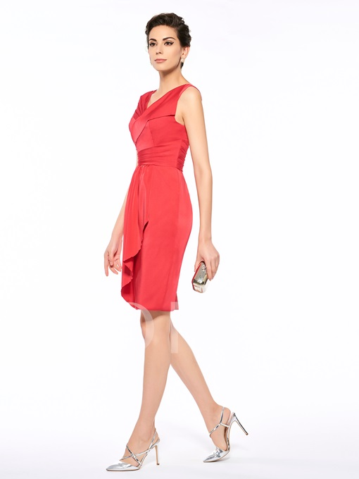 V-Neck Pick-Ups Knee-Length Sheath Mother Of The Bride Dress